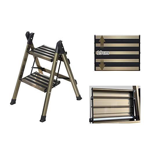 Multifunctionele trapladder met inklapbare trapladder en antislip pedaal voor maximaal 30 kg (330 lb) voor woonkeuken en badkamer, camper, aluminiumlegering ++ 2-step step ladder