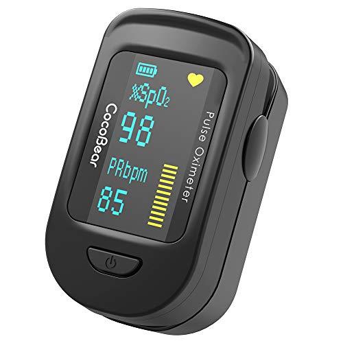 Oxímetro de Pulso, CocoBear Pulsioxímetro con Pantalla OLED, Oxímetro con función de alarma, Aaprobado por la FDA y la CE,Oxímetro de dedo para medir la saturación de oxígeno en la sangre (Sp02)