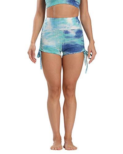 YAOTT Leggins Cortos de Yoga para Mujer Tie Dye Pantalones Deportes de Cintura Alta con Ajustable Cordón para Entrenamiento Running Gimnasio Gym Tie Dye Azul M
