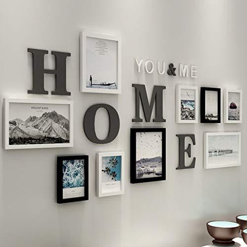 Marco de Fotos Múltiples, un Conjunto de 10 Collage Foto Pared Sala de Estar Dormitorio Creativo Combinación Decorativa Pared (Color : Black)