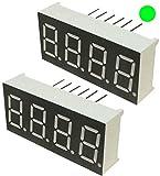 AERZETIX - Set di 2 - Display digitale - modulo - pannelli luminosi - schermo - 14x30mm - LED 7 segmenti - verde - THT - numero cifre 4 - C46066