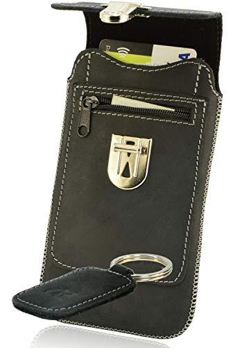 OrLine Handytasche geeignet für Alcatel Idol 3C mit Silikon Hülle. Hülle mit Verschluß & EC-Kartenfach aus Echtleder. Schwarz Etui aus Leder mit die Schlüsselan.