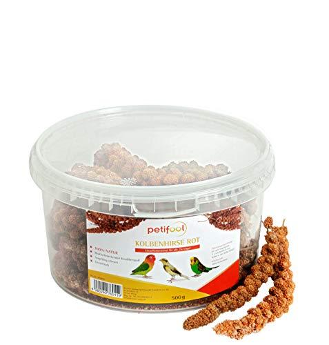petifool Kolbenhirse rot 500g - Einzelfuttermittel für alle Ziervögel - Vogelfutter - 100% Natur