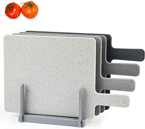 """Chopping Board Set for Kitchen Holder, Index Small Cutting Board Easy-Grip Handle BPA Free, Dishwasher Safe, Thick Cutting Boards With Draining Rack & Food Icons for Kitchen, 9.45"""" x 7.88"""""""