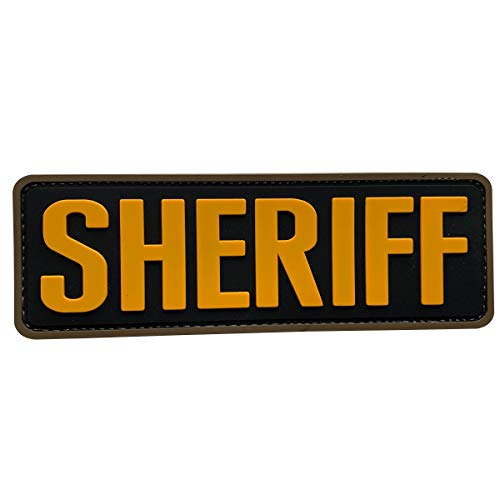 uuKen Big PVC Rubber Sheriff Patch 6x2 inches Golden Yellow with Hook Back for Tactical Vest Police Officer Law Enforcement or Combat Plate Carrier
