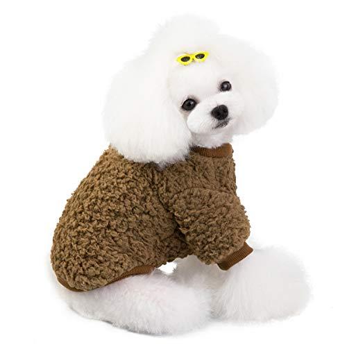 Vivi Beer Hond Jas Winter Fleece Puppy Kleding Winddicht Warm Jas Kleding voor Huisdier Doggy Jongen Meisje Dikke Katoen Kleding voor Koud Weer(5 maat,4 kleur), L, BRON
