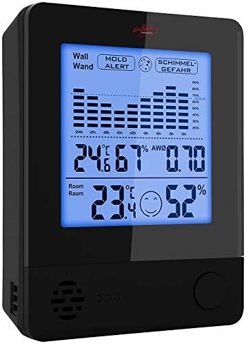infactory Luftfeuchtigkeitsmesser: 2in1-Thermometer & Hygrometer, Raum- & Wand-Messung, Schimmel-Alarm (Schimmelwarner)