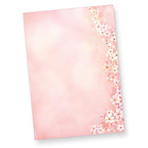 Briefpapier Frühling Kirschblüten 50 Blatt DIN A4 90g Altrosa Motiv-Papier