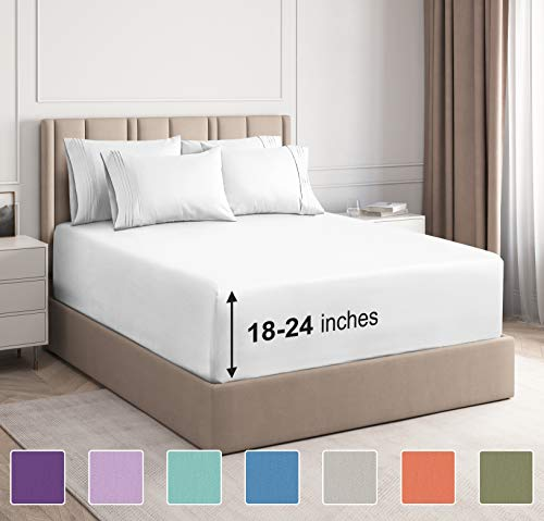 Extra Deep Pocket Sheets - 6 Piece Sheet Set - Queen Sheets Deep Pocket- Extra Deep Pocket Queen Sheets - Deep Fitted Sheet Set - Extra Deep Pocket Queen Size Sheets - Easily Fits Extra Deep Mattress