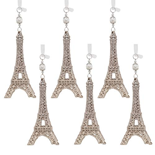 Jyi Hope 6Pcs Eiffel Tower Glittered Acrylic Ornament Christmas Decorations Home Christmas Tree Wedding Party DIY Festive Decoration (Champagne Gold Tower)
