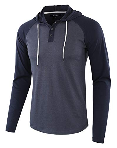Estepoba Mens Casual Athletic Fit Lightweight Active Sports Jersey Shirt Hoodie Cadet Blue/Navy L