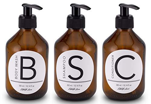 Lifestyle Lover Seifenspender aus Braunglas, Bernsteinfarben für Seife, Shampoo, Conditioner, Lotionen (3er Pack Body Wash, Shampoo, Conditioner 300ml)