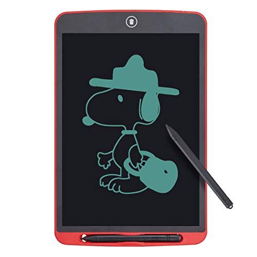 Funkprofi Bunte 12 Zoll LCD Schreibtafel, Digitale Grafiktabletts Schreibplatte Papierlos Elektronisches Writing Tablet mit Anti-Clearance Funktion + Schutztasche Geschenk für Kinder (Rot)