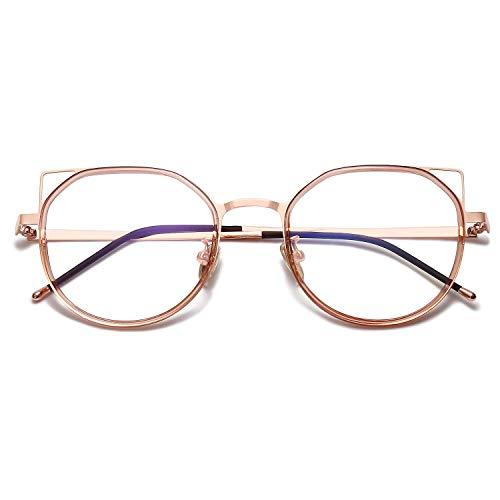SOJOS Blue Light Blocking Glasses Women Cat Eye Vintage Metal Frame Eyeglasses Fox SJ5059 with Rose Gold Frame/Crystal Brown Rim/Anti-Blue Light Lens
