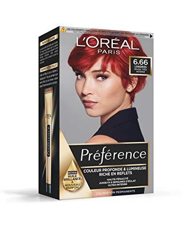 L'Oréal Paris Préférence Coloration Permanente Cheveux, Nuance : Londres (6.66), Rouge...