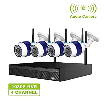 Freecam Wireless Security Camera System,4Pcs 1080P 2.0MP Surveillance IP Cameras with Night Vision,Motion Detection,4-Channel WiFi NVR Kits,2 Way Audio,Plug & Play,Remote Monitoring (M430)