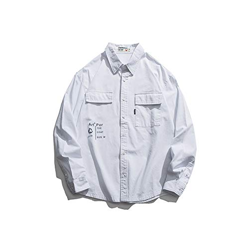Camisa Doble Bolso de Moda con Estampado de Calle, Camisa de Manga Larga con Herramientas para Hombres