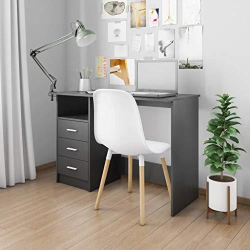 GOTOTOP - Escritorio con 3 cajones de estilo moderno, 110 x 50 x 76 cm, mesa para ordenador de oficina, de madera, mueble de trabajo, tablero de partículas, puestos de trabajo para ordenador