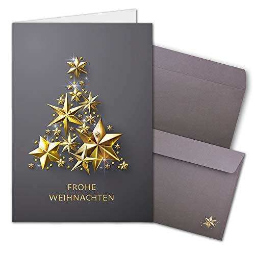10x Weihnachtskarten-Set DIN A6 in Grau mit goldenem-Weihnachtsbaum aus Sternen - Faltkarten mit passenden Umschläge - Weihnachtsgrüße für Firmen und Privat