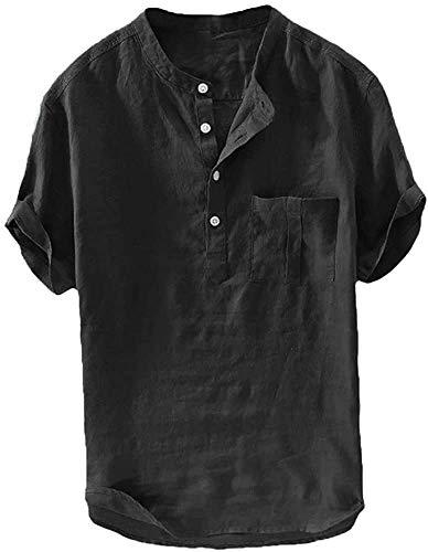 Herren Leinenhemd Kurzarm Hemd Sommerhemd Fischerhemd Baumwolle Stehkragen Freizeit Henley T Shirts, Schwarz, M