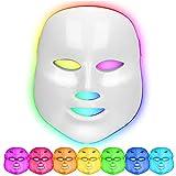 LED Máscara Facial 7 colores Fotón Terapia de luz Rejuvenecimiento de piel para la de arrugas de manchas de acné Anti envejecimiento Blanqueo Tratamiento Facial para el cuidado de la piel