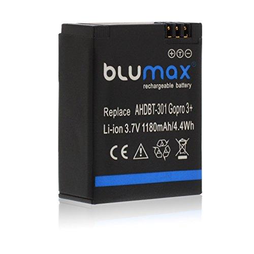 Blumax Akku 1180mAh - für GoPro Hero 3 Plus 3+ / 3 Black, Silver, White - AHDBT-201, AHDBT-301, AHDBT-302, AHBBP-301, ACARC-001, AWALC-001