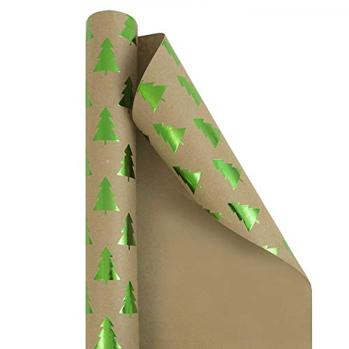 JAM PAPER Gift Wrap - Christmas Kraft Wrapping Paper - 25 Sq Ft - Green Trees on Brown Kraft Paper - Roll Sold Individually