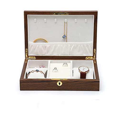 DYXYH Soporte de Organizador de Joyas de Madera Collar de joyería Vintage Pendientes de Anillo Caja de Almacenamiento de Estante de exhibición (Color : A)