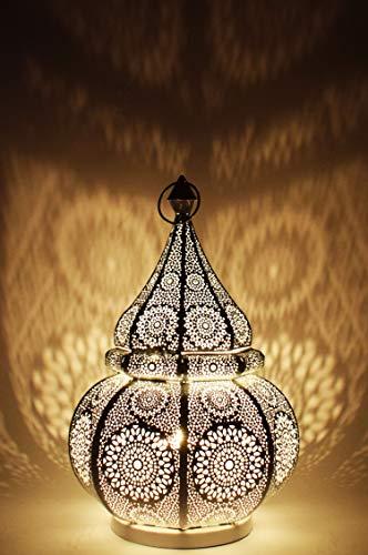 Orientalische kleine Tischlampe Lampe Malha 38cm Weiss E27 | Marokkanische Tischlampen klein aus Metall, Lampenschirm Weiß | Nachttischlampe modern, für Vintage, Retro & Landhaus Stil Design