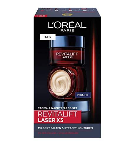 L'Oréal Paris Gesichtspflege Set, Revitalift Laser X3, Anti-Aging Tagespflege und Nachtpflege mit 3-fach Wirkung, Mit Hyaluronsäure, 2 x 50 ml