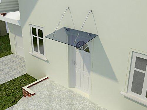 Glasvordach Zugstreben 120 cm Tiefe - Haustürüberdachung Sicherheitsglas Eingangsbereich, Glasart:Grauglas, Größe:150 x 120 cm
