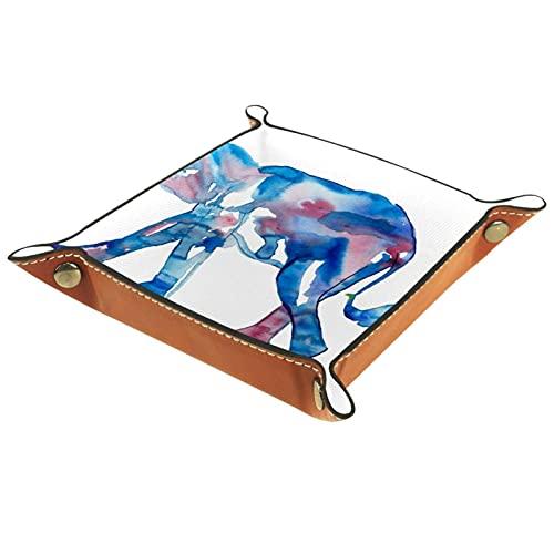 レザーバレットトレイ多目的 収納ボックストレイオーガナイザー小さなアクセサリーの収納に使用,ゾウのお母さんと赤ちゃん