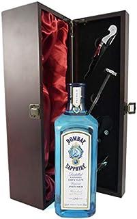 Bombay Sapphire Distilled London Dry Gin in einer mit Seide ausgestatetten Geschenkbox. Da zu vier Zubehör, Korkenzieher,Giesser,Kapselabschneider,Weinthermometer