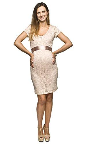 Torelle Damen Umstandskleid Brautkleid für Schwangere, Modell: LACE, Kurzarm, beige, S