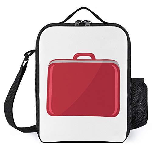 Fiambrera para niños con soporte para botellas para mujeres, hombres, maleta roja, con aislamiento de moda, gran bolsa reutilizable de preparación de comidas para el trabajo, escuela, picnic