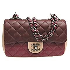 "Size: 8.7""x 5.1""x 2.4"", 22cmx 13cmx 6cm、Strap drop: 20.5"" (52cm) Color: Wine, Red, Creme Material: Leataher Inside: exterior: flat pocket x 1, Inside: zip pocket x 1 Includes: Original box, Authenticity card, dust bag"