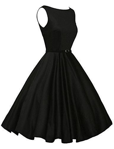 50's Vintage Dresses for Women with Belt Black Size L F-13