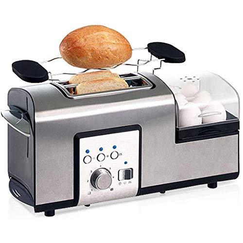 Tostadora 2 Slice Toaster y huevo Cafetera, Tostadora de acero inoxidable 2 en 1 pan tostado y huevo desayuno Maker con Grill - 7 configuraciones de tostado - Amplio compartimento for tostar - 1250 W