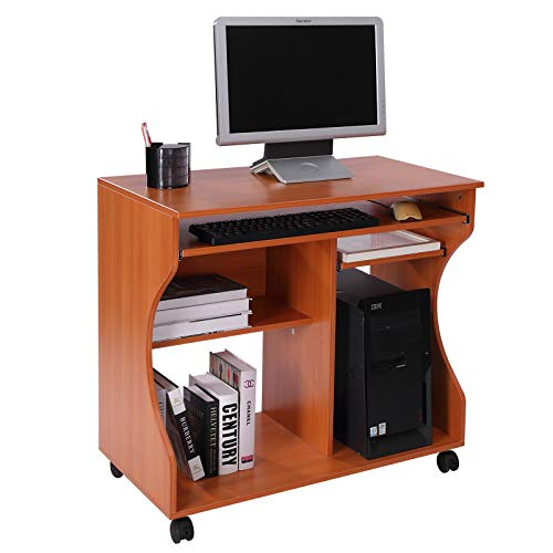 HOMCOM Movable Computer Office Desk with Sliding Keyboard on wheels Cherry Wood