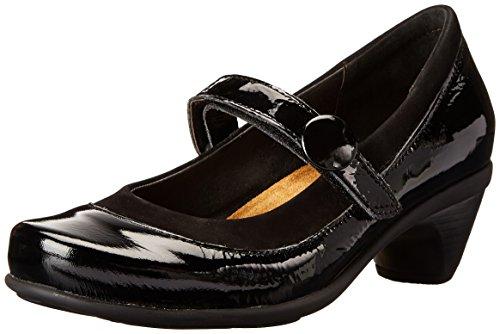Naot Women's Trendy Dress Pump,Black Velvet Nubuck/Black Crinkle Patent Leather,40 EU/8.5-9 M US