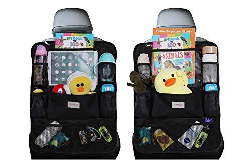 Car Organizer, SURDOCA 4th Generation Enhanced Car Seat Organizer with 10.5'' PVC-Free Tablet Holder, 9 Pockets, Road Trip Essentials for Kids,Car Seat Back Storage Organizer, Black, 2pcs