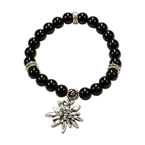 Alpenflüstern Perlen-Trachten-Armband Fiona mit Strass-Edelweiß - Damen-Trachtenschmuck, elastische Trachten-Armkette, Perlenarmband schwarz DAB011