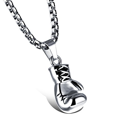 bigsoho Herren Anhänger Sport Boxen Boxhandschuh Halskette Kette Edelstahl - Farbe Silber