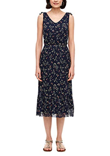 s.Oliver Damen Mesh-Kleid mit Blumenmuster navy AOP flowers 36