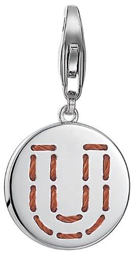 ESPRIT Damen-Charm 925 Sterling Silber rhodiniert Letter Fabric U ESCH91142A000