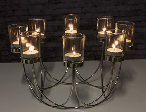 garden mile Large Chrome Tealight Candle Holder Home Decoration Table Centrepiece, Modern 8x Tealight Candleabra Wedding Table Centrepiece