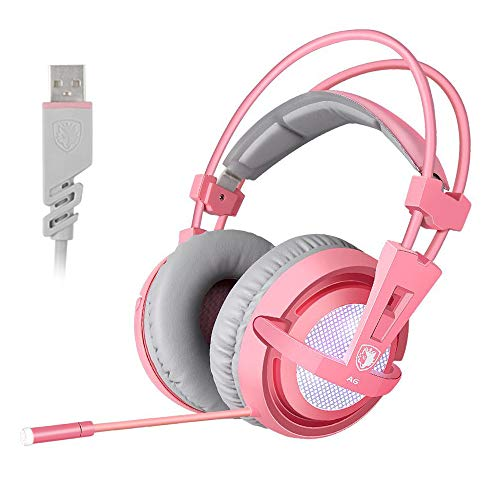 SUPSOO 7.1 Stereo Gaming Headset, Noise Cancelling Over Ear Gaming Headphones with Mic & White LED L