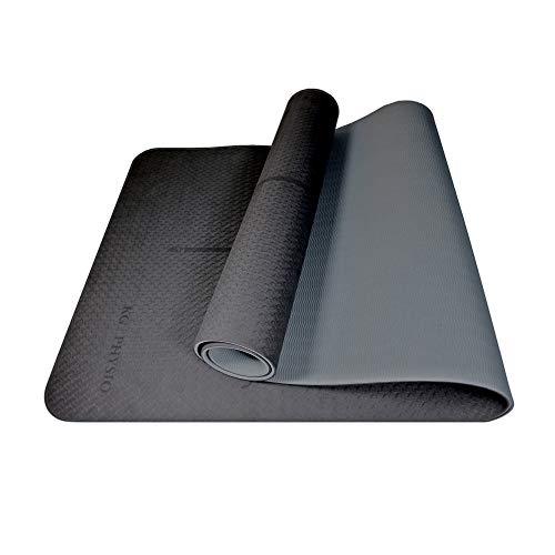 KG Physio Esterillas de yoga de 6 mm para mujeres y hombres, material TPE respetuoso con el medio ambiente, alfombrilla antideslizante perfecta para posturas de yoga (negro)
