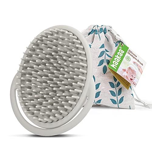haakaa Silicone Shampoo Brush - Soft & Safe Cradle Cap Brush, Hair Scalp Massager, Grey - 1pc