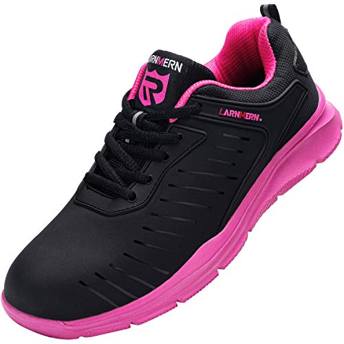 LARNMERN Sicherheitsschuhe Herren Damen, SRC rutschfeste Anti-Piercing Schuhe Schutzschuhe Arbeitsschuhe mit Stahlkappe Leicht Sicherheitssneaker (39 EU Pink)
